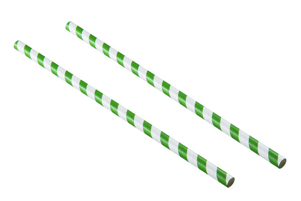 Green and White Striped Paper straw Login To Buy